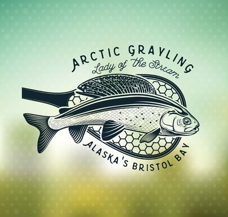 Grayling Fly Fishing Logo. The Lady of the River Stok Fotoğraf - 105779246