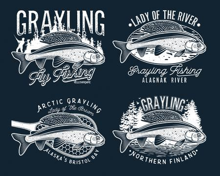 Grayling Fly Fishing Logo. The Lady of the River Stok Fotoğraf - 105197841