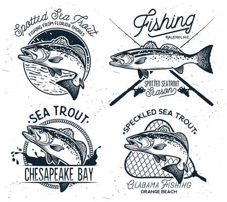Emblemi di pesca alla trota di mare vintage, etichette ed elementi di design.