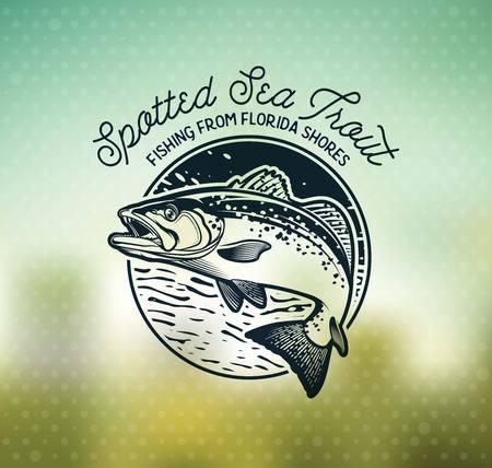 ヴィンテージ海のマス釣りエンブレム、ラベルとデザイン要素。