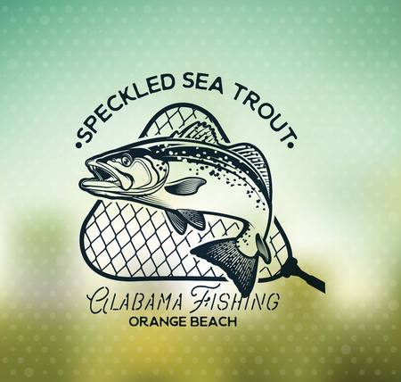 Vintage Sea Trout Fishing Emblems, Labels and Design Elements. 스톡 콘텐츠 - 105779250