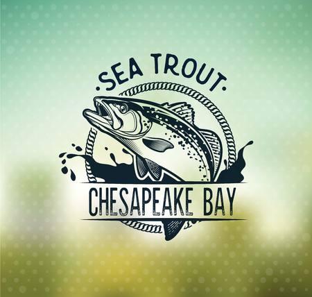 Emblemas de pesca de trucha de mar vintage, etiquetas y elementos de diseño.