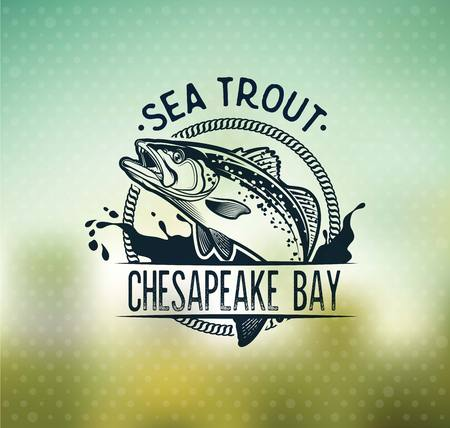 Vintage Sea Trout Fishing Emblems, Labels and Design Elements.