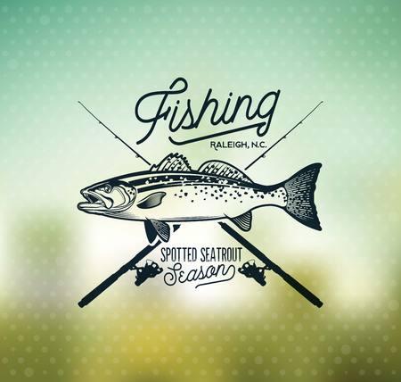 Vintage Sea Trout Fishing Emblems, Labels and Design Elements. 版權商用圖片 - 105779252