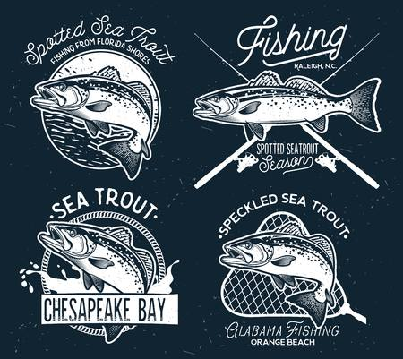 Vintage zeeforel visserij emblemen, etiketten en ontwerpelementen. Vector Illustratie