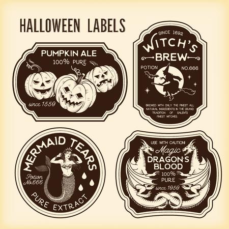 Etiquetas de botellas de Halloween Etiquetas de pociones. Ilustración de vector.