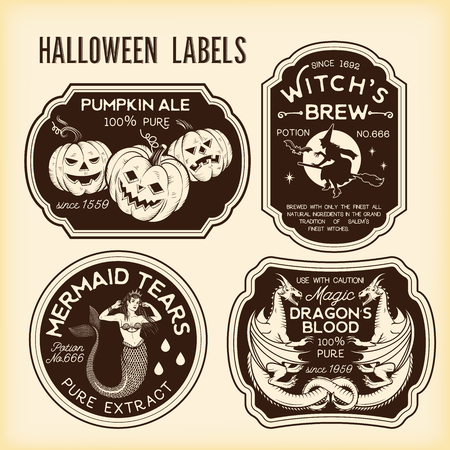Halloween Bottle Labels Potion Labels. Vector Illustration.
