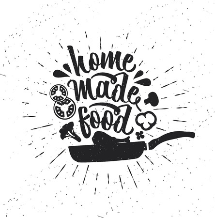 Hand drawn typography poster. Inspirational vector typography. Homemade Food. Stok Fotoğraf - 109815610