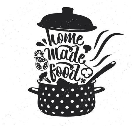 Affiche de typographie dessinée à la main. Typographie vectorielle inspirante. Nourriture faite maison.