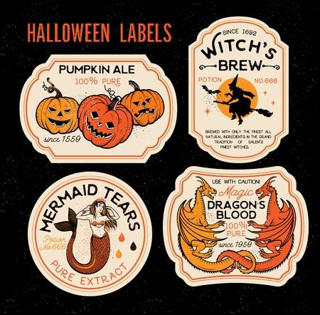 Etiquetas de botellas de Halloween Etiquetas de pociones. Ilustración de vector