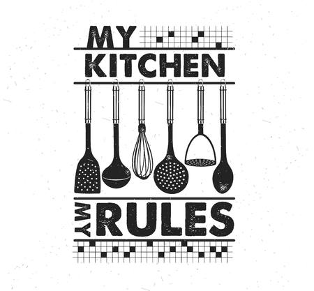 Hand drawn typography poster. Inspirational vector typography. My kitchen, my rules. . Vector calligraphy. Stok Fotoğraf - 118847151