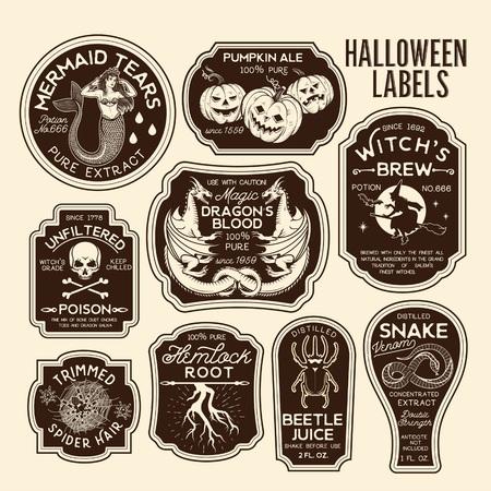 Etiquetas de botellas de Halloween Etiquetas de pociones. Ilustración de vector. Foto de archivo