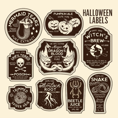 Halloween Bottle Labels Potion Labels. Vector Illustration. Stok Fotoğraf - 118847154