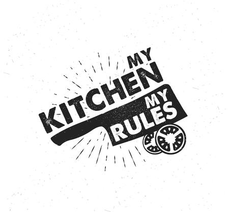 Hand drawn typography poster. Inspirational vector typography. My kitchen, my rules. . Vector calligraphy. Stok Fotoğraf
