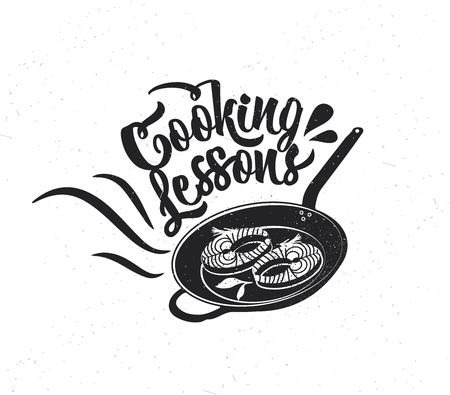Hand drawn typography poster. Inspirational vector typography. Cooking Lessons .