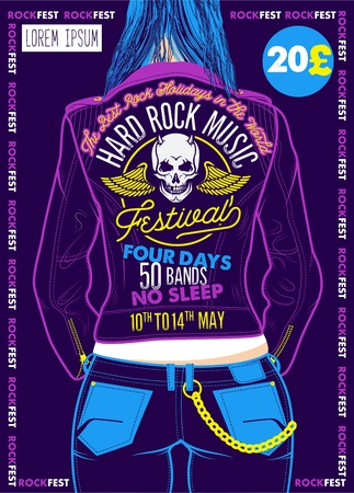Hard Rock Festival Poster. Vector Illustration Stok Fotoğraf - 118847158