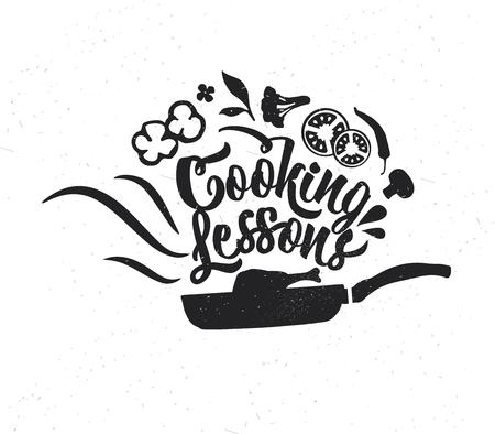 Affiche de typographie dessinée à la main. Typographie vectorielle inspirante. Leçons de cuisine .