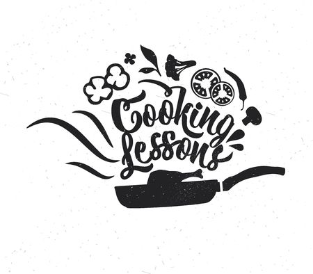 Hand drawn typography poster. Inspirational vector typography. Cooking Lessons . Stok Fotoğraf - 118847159