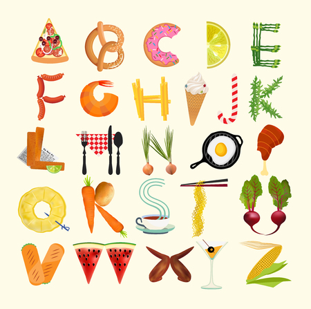 Food Alphabet. Typography Kitchen Poster. Vector Illustration Stok Fotoğraf - 127384506