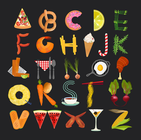Food Alphabet. Typography Kitchen Poster. Vector Illustration