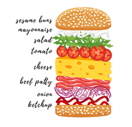 Poster lettering Burger. Hand drawn typography poster.