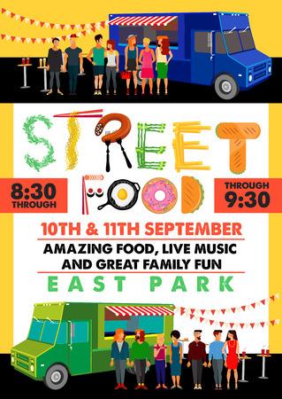 Food Festival Flyer. Food Alphabet. Vector Illustration Stok Fotoğraf - 127309674