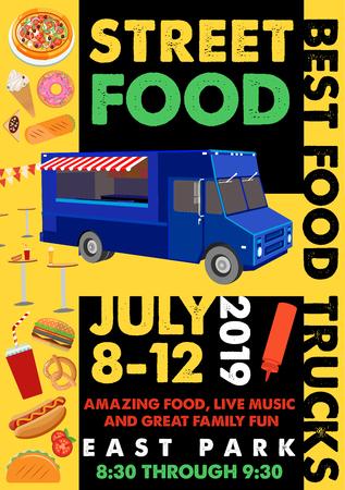 Food Festival Flyer with Food Alphabet. Vector Illustration.