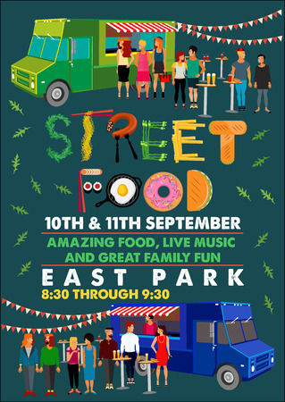 Food Festival Flyer with Food Alphabet. Vector Illustration.