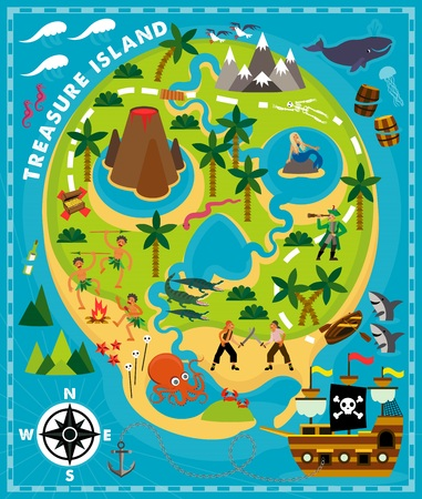 Cartoon Pirate Map Treasure, Travel Adventure. Vector Illustration For Kids. 矢量图像
