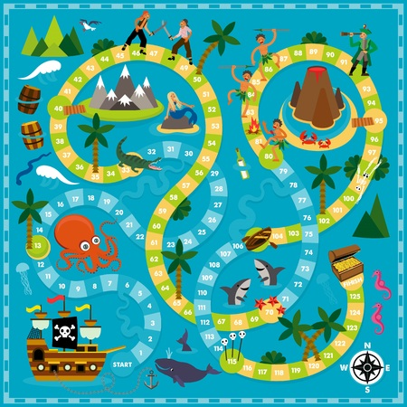 Vector Cartoon Illustration of kids. Pirate Board Game Template. For print.