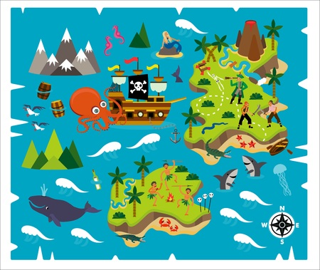 Cartoon Pirate Map Treasure, Travel Adventure Çizim