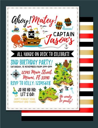 Piraten verjaardagsuitnodiging. Uitnodiging schatkaart. Vector