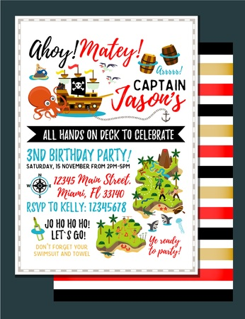 Pirate birthday invitation. Treasure Map Invitation. Vector Illustration