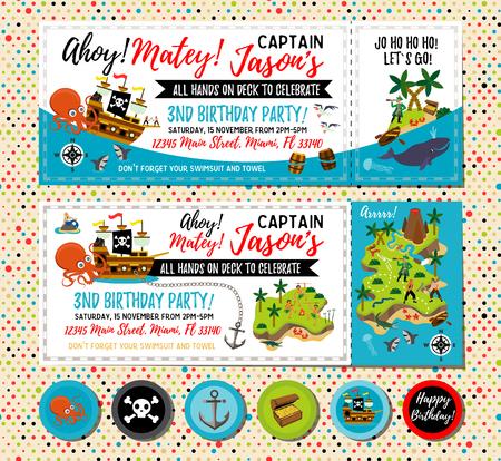 Invitación de cumpleaños pirata. Invitación del mapa del tesoro. Decoraciones de fiesta pirata para fiesta de cumpleaños o baby shower. Adornos para cupcakes pirata. Ilustración de vector. Ilustración de vector