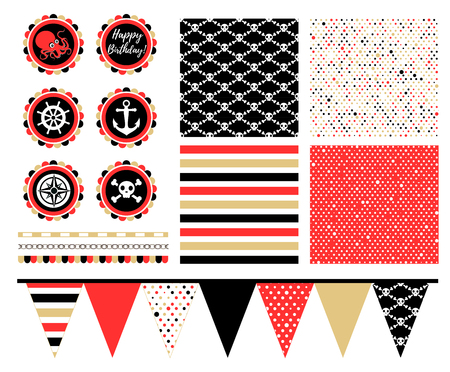 Pirate Party Decorations for Birthday Party or Baby Shower. Pirate Cupcake Toppers. Vector Illustration. - Vector Illusztráció