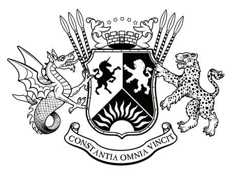 Illustration héraldique vectorielle dans un style vintage avec bouclier, couronne, léopards, wyvern et casque de chevalier pour la conception Vecteurs