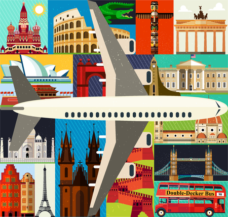 Top-Rated Tourist Attractions with Plane. Vector.