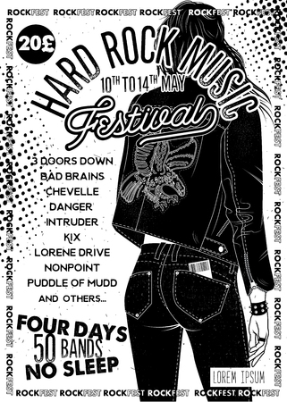 Hard Rock Festival Poster with Girl. Vector Illustration.