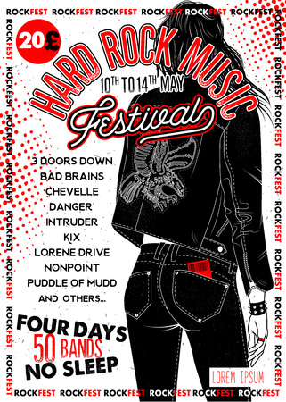 Hard Rock Festival Poster with Girl. Vector Illustration.