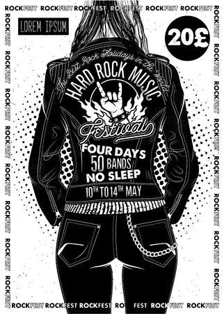 Cartel del festival de hard rock con chica. Ilustración de vector.