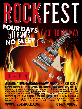 Rock Fest Poster with Guitar on Fire. Vector Illustration.