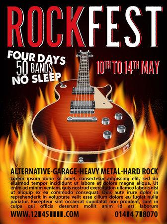 Rock Fest Poster with Guitar on Fire. Vector Illustration. Stok Fotoğraf - 126662037
