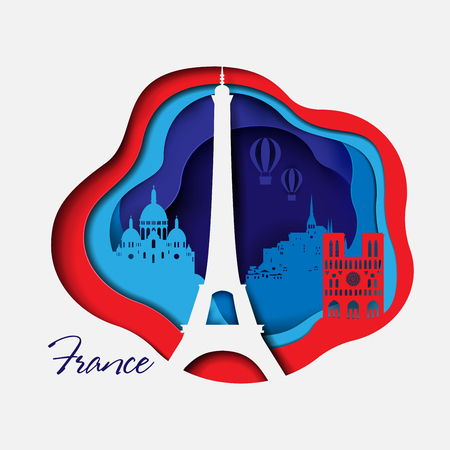 France 3d paper cut background. Abstract Shapes with Tourist Attractions in France in red and blue colors. Design for decoration, travel presentation, posters, flyers, prints. Vector illustration. Çizim