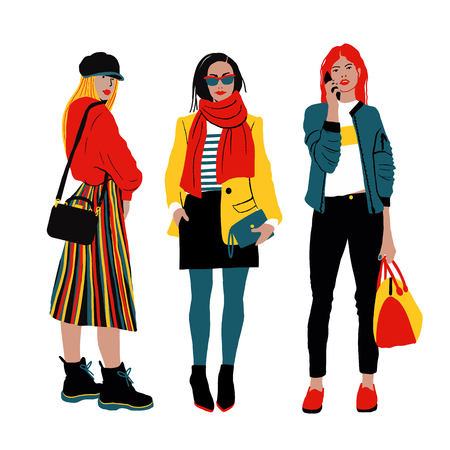 Women s Spring Street Style. Detailed Female Characters. Colorful Fashion Illustration in Flat Cartoon Style. Standard-Bild - 126039665
