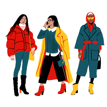 Women s Winter Street Style. Detailed Female Characters. Colorful Fashion Illustration in Flat Cartoon Style. Çizim