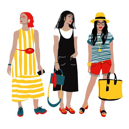 Women s Summer Street Style. Detailed Female Characters. Colorful Fashion Illustration in Flat Cartoon Style. Çizim