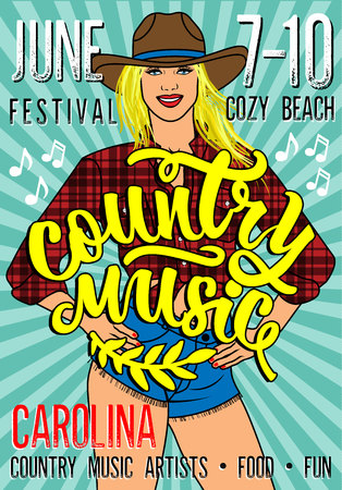 Country Music Festival Poster with Sexy Country Girl In Short Jean Shorts And Plaid Shirt.