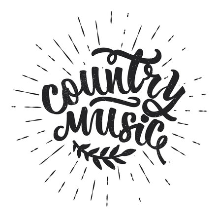 Country Music. Hand drawn typography poster Çizim