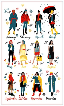 Twelve young women or girls wearing stylish clothing. Wall Calendar. Detailed Female Characters. Illustration