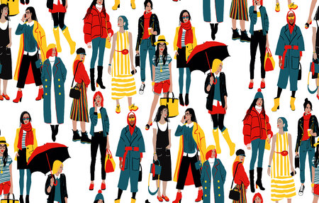 Seamless Pattern With Fashionable Young Women In Casual Style. Girl Street Style. Detailed Female Characters. Colorful Fashion Illustration In Flat Cartoon Style.